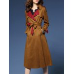 cheap Wrap Faux Suede Trench Coat