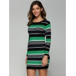 cheap Stretchy Multicolor Striped Slim Dress