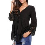 cheap Lacework Splicing Single-Breasted Blouse