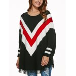 Batwing Sleeves Fringed Striped Pullover