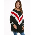cheap Batwing Sleeves Fringed Striped Pullover