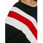 best Batwing Sleeves Fringed Striped Pullover