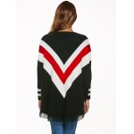 Batwing Sleeves Fringed Striped Pullover for sale