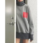 cheap High Neck Graphic Patch Sweatshirt