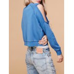 cheap Crew Neck Cold Shoulder Cropped Sweatshirt