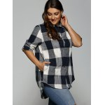 cheap Plus Size Plaid Asymmetrical Shirt