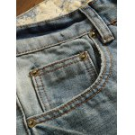 Holes and Cat's Whisker Appliques Straight Leg Denim Pants deal