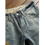 cheap Holes and Cat's Whisker Appliques Straight Leg Denim Pants
