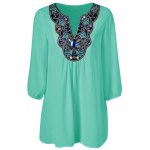 Plus Size Embroidered Rhinestone Embellished Blouse for sale