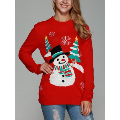 Christmas Snowman Tree Pattern Pullover Sweater