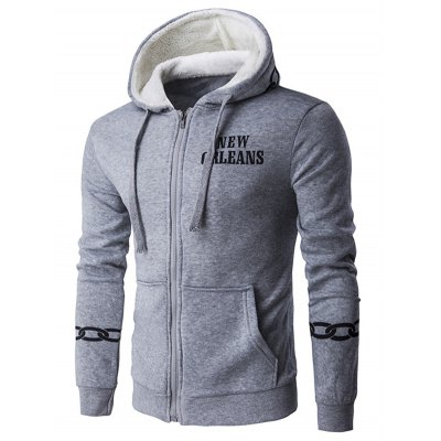 Chain Print Drawstring Cool Zip Up Hoodies for Men