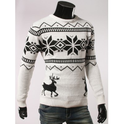 Fawn and Snow Pattern Round Collar Christmas Sweater