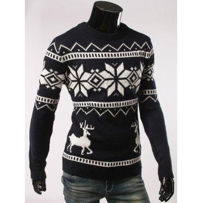 Fawn and Snow Pattern Round Collar Christmas SweaterMens Sweaters &amp; Cardigans<br>Fawn and Snow Pattern Round Collar Christmas Sweater<br><br>Type: Pullovers<br>Material: Cotton,Spandex<br>Sleeve Length: Full<br>Collar: Round Neck<br>Technics: Computer Knitted<br>Style: Casual<br>Weight: 0.500kg<br>Package Contents: 1 x Sweater