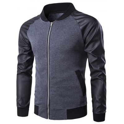 PU-Leather Splicing Raglan Sleeve Stand Collar Zip-Up Jacket