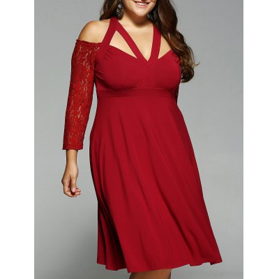 Plus Size Lace Sleeve Criss Cross Dress