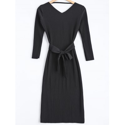 Cut Out Belted Sweater Dress