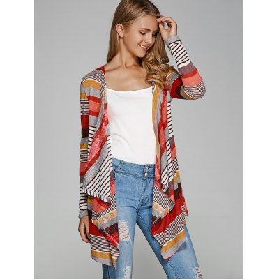 Colorful Striped Asymmetrical CardiganSweaters &amp; Cardigans<br>Colorful Striped Asymmetrical Cardigan<br><br>Type: Cardigans<br>Material: Polyester<br>Sleeve Length: Full<br>Collar: Collarless<br>Style: Casual<br>Pattern Type: Striped<br>Season: Fall,Spring,Summer<br>Weight: 0.360kg<br>Package Contents: 1 x Cardigan
