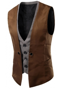 Plaid Insert Buckled Single Breasted Waistcoat