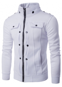 IZZUMI Buttoned Pleated Stand Collar Zip Up Jacket