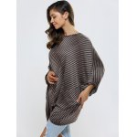 Stripe Batwing Sleeve Irregular Oversize Sweater for sale