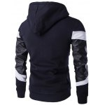 cheap PU Leather Splicing Front Pocket Design Hoodie