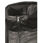 Faux Leather Insert Zip Up Drawstring Hoodie deal