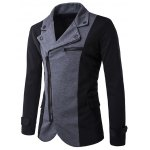 Inclined Zipper Fly Color Splicing Irregular Jacket