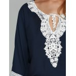 Flare Sleeve Lace Spliced Chiffon Blouse photo