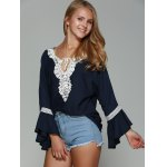 Lace Trim Chiffon Flare Sleeve Blouse deal
