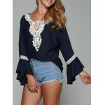 Flare Sleeve Lace Spliced Chiffon Blouse
