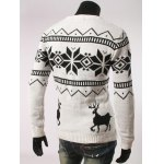Fawn and Snow Pattern Round Collar Christmas Sweater deal