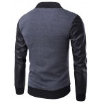 cheap PU-Leather Splicing Raglan Sleeve Stand Collar Zip-Up Jacket