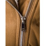 Turn-Down Collar Moto Zip-Up Suede Jacket for sale