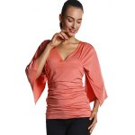 cheap Ruched Fitted Bell Sleeve Blouse