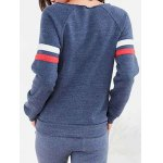 cheap Striped Sleeve Front Pocket Sweatshirt