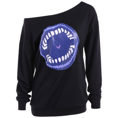 Skew Neck Lip Print Sweatshirt