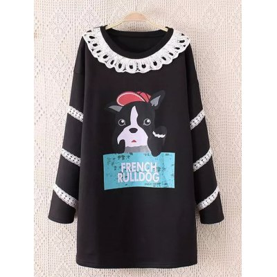 Cartoon Character Print Long Sweatshirt