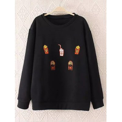Plus Size Drinks Embroidered Sweatshirt