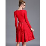 V  Neck Long Sleeve Sweater Dress for sale