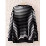 cheap Striped Plus Size Fleece Black and White Sweatshirt