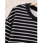 Striped Plus Size Fleece Black and White Sweatshirt deal