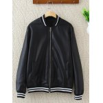 Plus Size PU Leather Bomber Jacket