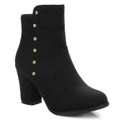Suede Dome Stud Zipper Ankle Boots
