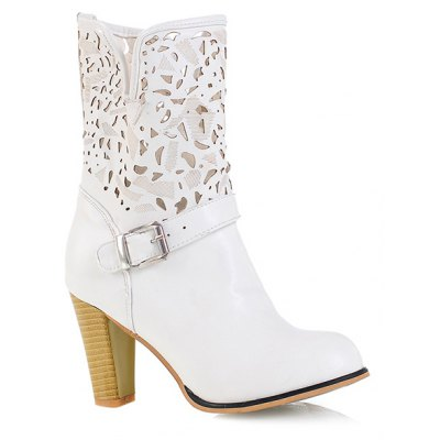 Engraving PU Leather Boots