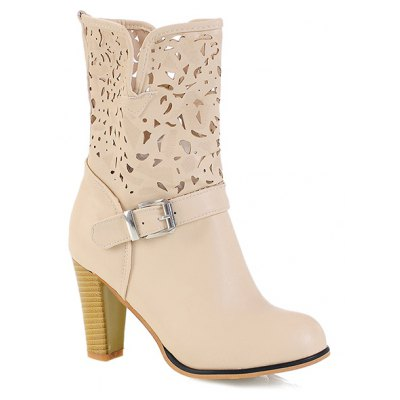 Buckle Engraving PU Leather Boots