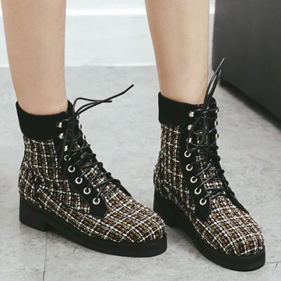 Plaid Pattern Tie Up Ankle Boots