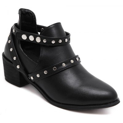 Studded Strap Snap Closure Ankle Boots