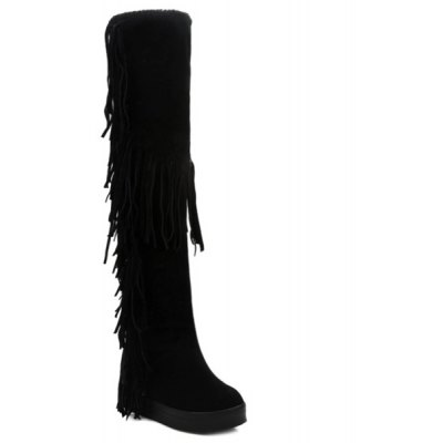 Fringe Hidden Wedge Thigh Boots