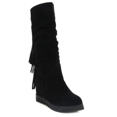 Fringe Hidden Wedge Mid Calf Boots