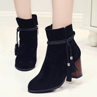 Zipper Tassels Suede Ankle Boots